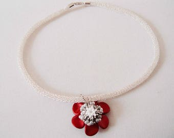 Collier Tubular Knit reversible Pendant and silver