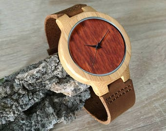 Minimalist bamboo watch wood watch, engraved wood watch, personalized gift engraving offered