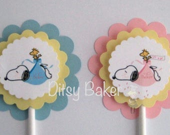 Special Delivery  Cupcake Toppers - set of 12 Pink or Blue - Baby Shower