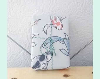 Printable Koi Gift Wrap - printable wrapping paper, goldfish gift wrap, koi pattern, A4 gift-wrap, elegant gift-wrap, hand-drawn gift wrap