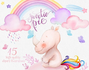 Unicorn clipart, watercolor cliparts, rainbow, clip art illustration, kids party, card making, scrapbook, digital, diy baby birthday invite