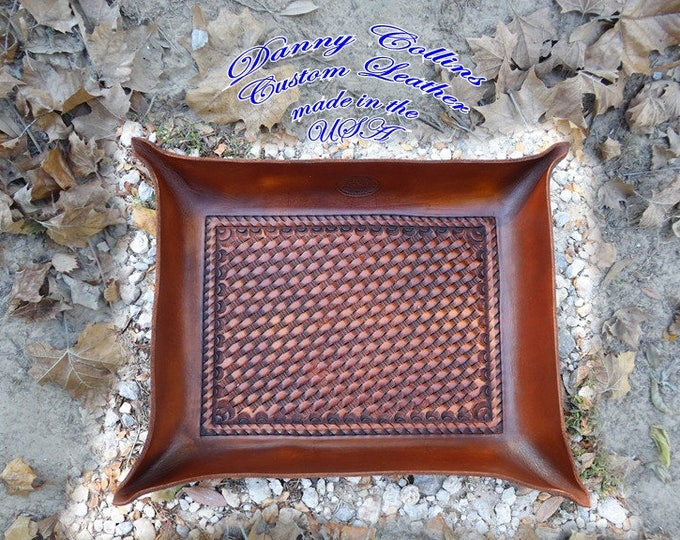 Leather Valet Tray, Tooled leather Catchall, Tooled Leather Valet Tray
