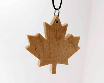 Wood Necklace - Maple Leaf Design