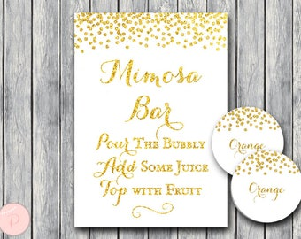 Gold Mimosa Bar Sign with juice tags, Bubbly Bar Sign, Wedding Bar Sign, Wedding Decoration Sign, Engagement Party Mimosa wd101 TH31