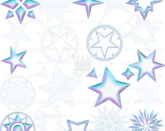 Space Voyage Star Clipart - Pastel Star Clipart, Digital Star Clip art, Digital Stars, Stars clip art, Colorful Stars