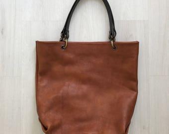 Brown leather tote bag, shoulderbag, oversized tote bag