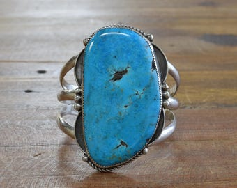 Large Sterling Silver and Turquoise Cuff Bracelet by Jose Campos