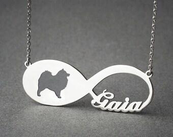 Personalised INFINITY SAMOYED Necklace - Samoyed necklace - Name Necklace - Memorial Necklace - Puppy - Dog Necklaces