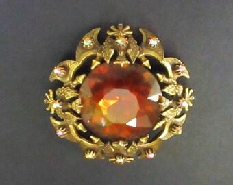 Vintage Florenza Heraldic Coat of Arms Crown Eagle Amber Topaz Colored Brooch AB Aurora Borealis Rhinestone Pin Pendant Signed