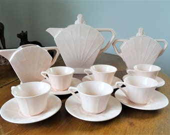Service Coffee Art Deco french faience Saint Amand in very good condition-6 cups 1930