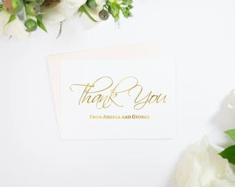 Personalized Gold Foil Calligraphy Thank You Cards, Stationery, Custom, Handmade, Available in Rose Gold, Copper, Silver Foil