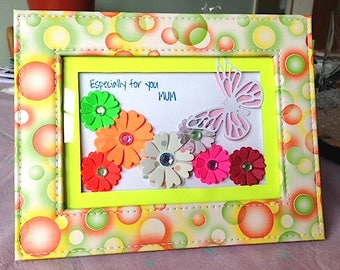 Red Green Yellow Orange Pink Ballon Flowers & Butterfly Mother's Day Birthday Gift Present Framed Picture