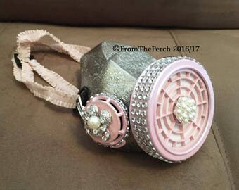 Steampunk Respirator Dust Mask for Burning Man, Festivals, Halloween, Post-Apocalyptic, Pink Dust Mask Pink Silver Rhinestone Crystal Mask