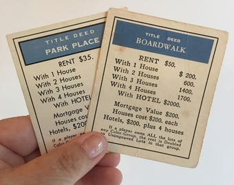 Vintage 70's monopoly game cards. Full set of 28 monopoly game cards.