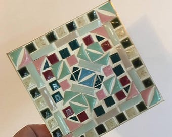 CANADA 150 SALE Vintage 70's mosaic tile plate. Small mosaic tile dish. Tile catch all dish. Ceramic mosaic plate.