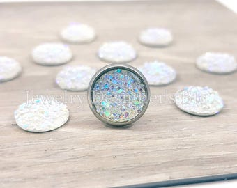 10mm Aurora Borealis Druzy Cabochons Faux Druzy Bronze Cabochon Resin Jewelry Supplies Earring Findings Cameo Settings Kawaii Supply