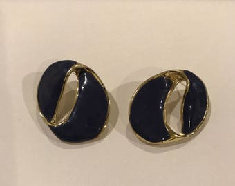 Vintage Jewelry- Vintage 1980s Periwinkle Blue and Gold Circular Earrings