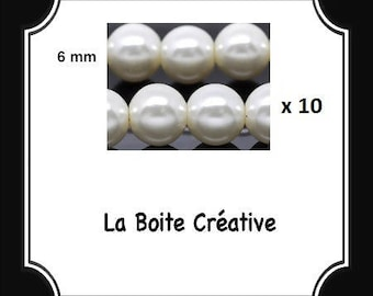 10 round 6 mm White Pearl glass beads