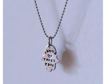 ≪< Hamsa bracelet-Karma >> with chain with steel shot