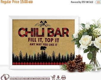 ON SALE Chili bar sign LUMBERJACK Chili bar sign Lumberjack First Birthday Party, Lumberjack baby shower Buffalo Plaid, Instant Download