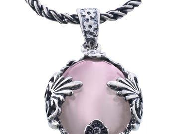 Silver pendant, Rose Quartz pendant, Quartz pendant, Rock crystal, Sterling silver, handmade