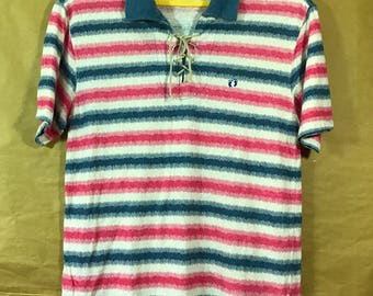 Hang Ten Stripes Polo Shirt Adult Medium Size Chest 19.5""