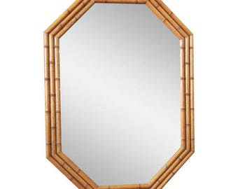 Baker Furniture Faux Bamboo Large Octagonal Hollywood Regency Chinoiserie Mirror