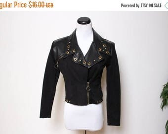 25% OFF VTG 80s-90s Faux Leather Studded Rocker Crop Motorcycle Jacket XS/S