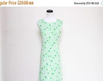 25% OFF VTG 70s Green White Leaf Flower Hippie Mod Maxi Dress L