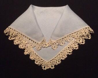 Vintage White Handkerchief with Yellow Crochet Edges, 1950's Style Hankerchief, Ladies Hankie, Hanky