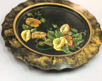 Round Tray/Platter Painted with Poppies