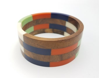 Wooden Lucite Bangle - Vibrant Resin and Wooden Bangles - Multicolor