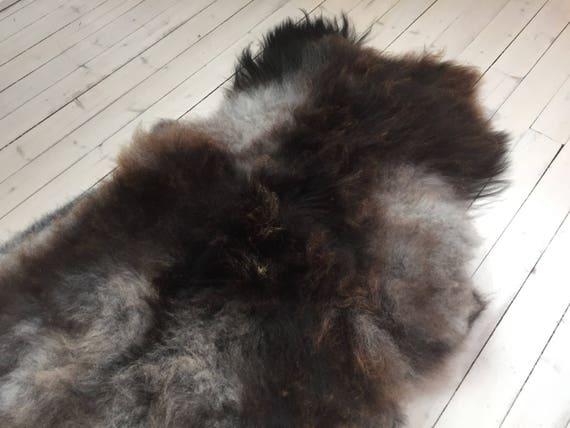 Decorative Sheepskin rug supersoft rugged throw from Norwegian norse breed medium locke length sheep skin brown grey 18034