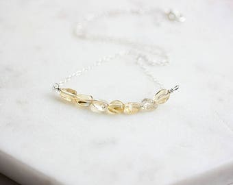 Natural Citrine Quartz Necklace,Silver or Gold Citrine Bar Necklace,Birthstone Necklace,November Birthstone,Girlfriend Gift