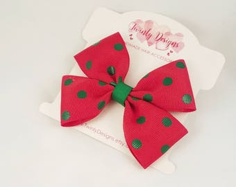 Red and Green Polka Dot Bow, Christmas Hair Bow, Xmas Barrette, Red Bow, Girls Hair Bow, Toddler Bow, Girls Hair Clip