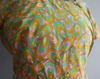 Vtg 60's Groovy Cotton Sun Dress