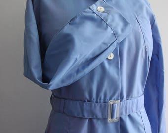 Vtg Blue 50's Belted House Coat