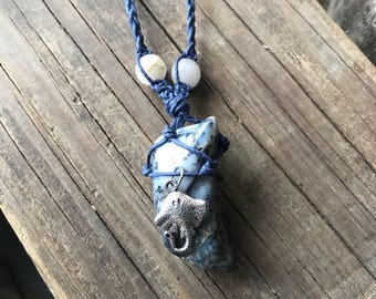 Stingray necklace, Sea creatures, Ocean animals, Hemp necklace, Agate necklace