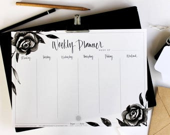 WEEKLY PLANNER/Printable/Hand Painted Planner/Calligraphy Text