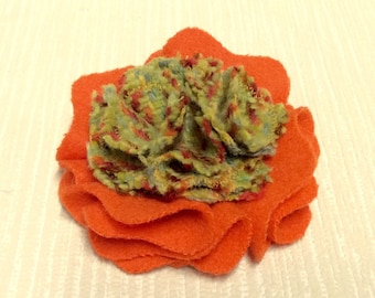 Welsh tweed flower brooch, corsage in lime green and orange