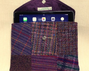Welsh tweed patchwork iPad case/tablet case in purple with handle