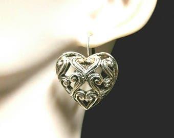 Silver plated filigree heart earrings