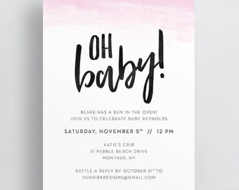 oh baby ombre baby shower invites // watercolor ombre shower invites // pink ombre invites // brush lettering // printable // custom
