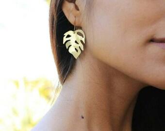 Mini Monstera Earrings   Full Brass Earrings   Brass Earrings   Monstera Plant   Leaf Earrings   Made-To-Order