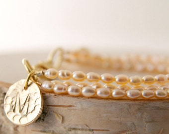 Dainty Three Strand Seed Pearl Bracelet with Monogram, Personalized Pearl Jewelry Handmade by BareandMe on Etsy, Bridesmaid Gift and Favors