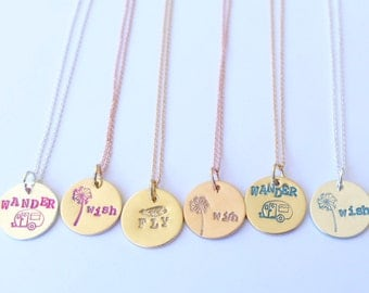 Dainty Bright and Colorful Wish Necklaces/ Make a wish Gifts/ Gift with Card Wish/ Birthday Gifts/ Wedding Party Gift Ideas/ Bridesmaid Gift