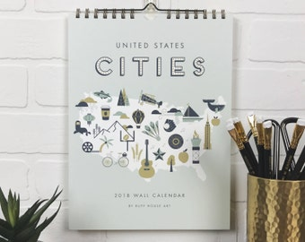 2018 United States Cities Hanging Wall Calendar