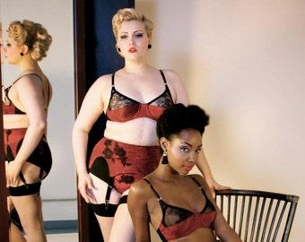 Red Silk & Black Lace Bra Vintage Style Lingerie Chantilly Lace