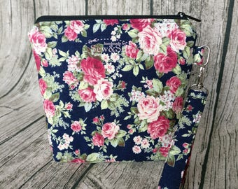 Make Up Pouch - Dark Blue Pink Roses