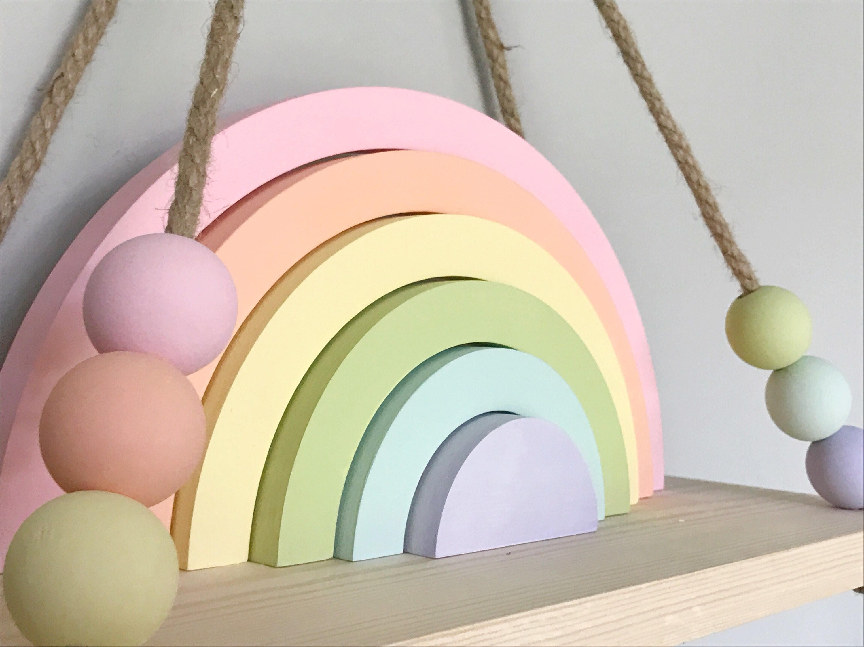 Swing shelf, nursery shelf, shelf, hanging shelf, wooden shelf, bead ...